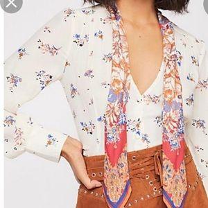 New! Free People Georgia peach XS tie blouse